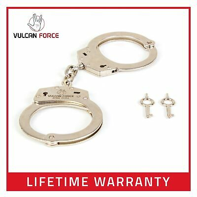 Professional Handcuffs SILVER Carbon Steel Double Lock w/ Keys FREE SHIPPING
