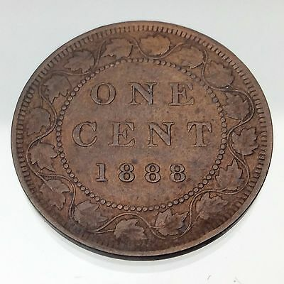 1888 One 1 Large Cent Penny Coin Canada Victoria Lovely Crisp Detail Nice B245
