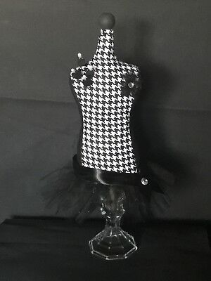 "Mannequin Tabletop Pincushion/Jewelry Holder; Abstract Houndstooth; 16""H; New"