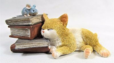 Kitten Napping with Mouse on Books Trinket box Home Decor