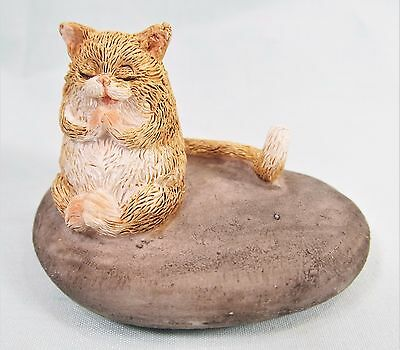 Cat with long tail Meditating on a rock Feline  Decor