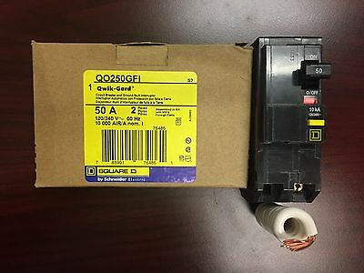 BRAND NEW SquareD QO250GFI QO250  2Pole 50Amp 120/240Volt Plug-In Groundfault