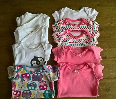 9 x Baby Girl Vests Newborn/Up to 1 Month/Up to 10lbs *Some Brand New* H&M