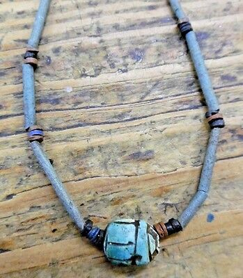 ANTQ Ancient Egyptian Scarab Faience Bead Amulet Necklace