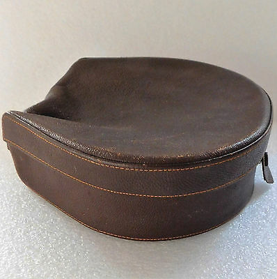 Art Deco soft leather collar box with stud holder Vintage travel luggage case