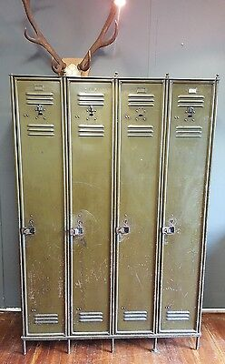 Vintage Industrial School Workshop Bank of Four Lockers Early 20th Century