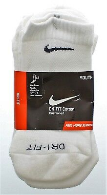Nike Youth No Show Socks 3 Pack White Size 5Y-7Y Retail $16