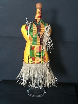 "Mannequin Tabletop Pincushion/Jewelry Holder; Abstract Kente; 16""H; New"
