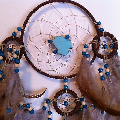 Cherokee Handmade BIG Dream Catcher Turquoise Stone, Leather Wood Beads Feathers