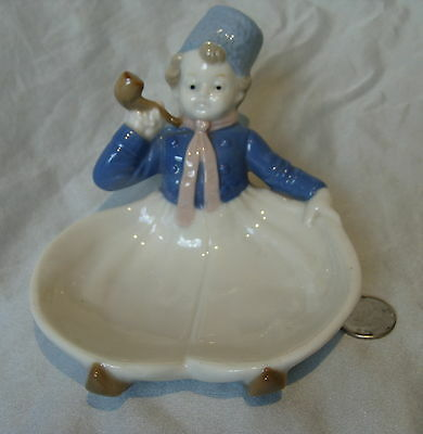 Antique German*figural Dutch Boy/man & Pipe*germany Trinket Dish/box Half Doll