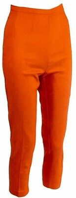 Vintage 60s pinup girl pants, side zip, orange, retro, small, S, NWT, Deadstock