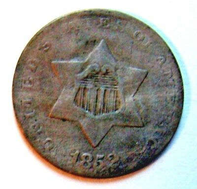 1852 Three Cent Silver, Bargain Type Coin, Free Shipping Usa