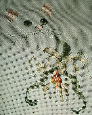 2 pt. Finished cross stitch piece- Lovely Cat with Lily/1