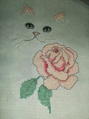 2 pt.  Finished cross stitch piece-Lovely Cat with Rose#2