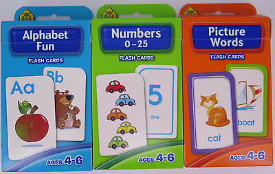 Hinkler 3 Pk Flash Cards Ages 4-6 Alphabet Fun Numbers 0-25  Picture Words