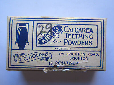 CHEMIST PACKET KIRBYS CALCAREA TEETHING POWDERS R C HOLDER BRIGHTON SA c1940s