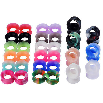 PAIR-LOW PROFILE ULTRA THIN MARBLED TUNNELS-Silicone SKINS-Ear Gauges- Ear plugs