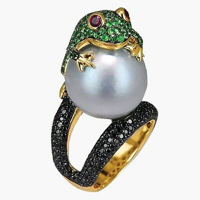 Animal Frog Freshwater Pearl 925 Silver Ring Gold Filled Vintage Size 6-10