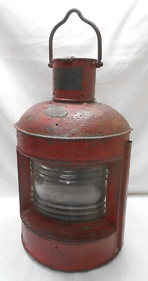 Vintage RED Copper and Glass Oil Ship's Light Kerosene Lamp Japanese #46