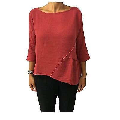 HUMILITY 1949 Bluse Frau rot Dunkelheit 100% Baumwolle made in italy
