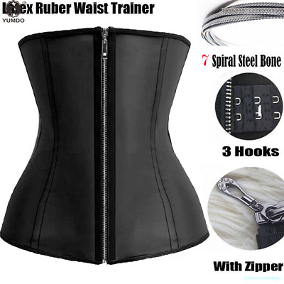 Women Waist Trainer Cincher Corset Shapewear Body Shaper Latex Rubber Zip Plus