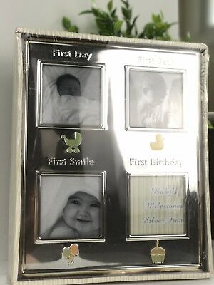 My First Year/ Milestone Baby Photo Silver Frame- NEW ORIGINAL PACKAGING
