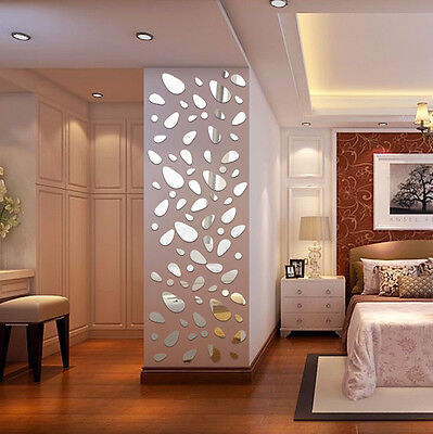 AU Removable 12pcs 3D Acrylic Mirror Decals Murals Wall Stickers Home Room Decor