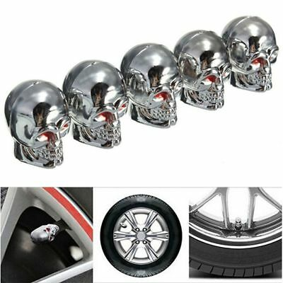5PCS Silver Skull Tyre Tire Air Valve Stem Dust Caps Covers for Auto Car Trucks