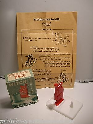 Antique 2 Pc Witch Needle Threader With Instructions Western Germany
