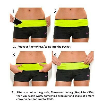 Flip Style Running Belt 4 Pockets Mobile Cards Cash Keys Bag By Inspiredfitness