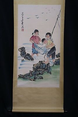 Extraordinary Rare Long Old Chinese Scroll Hand Painting Kids Mark WeiZiXi PP467