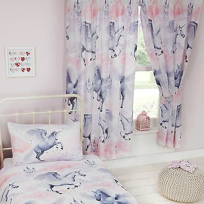 "STARDUST UNICORN 66"" x 72"" LINED CURTAINS GIRLS PINK BEDROOM NEW"