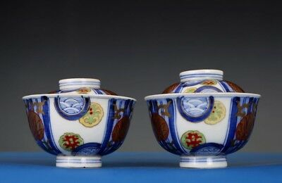 Pair Of Exquisite Chinese Antique Handmade Pottery Porcelain Tea Cups