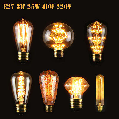 E27 3W 40W Vintage Retro Style Lighting Filament Edison LED Lamp Light Bulb 220V