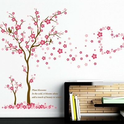 Pink Plum Blossom Girls Room Wall Art Decals Mural Vinyl Stickers Tree Pretty