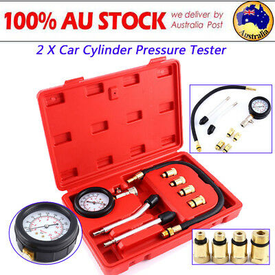 2X Car Diesel Engine Compression Cylinder Pressure Tester Gauge Testing Tools AF