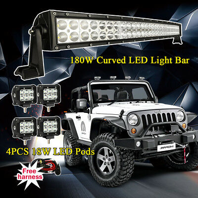 "32Inch180W Curved Led Work Light Bar+ 4x 4"" CREE Led Pods Truck Jeep Ford SUV 30"