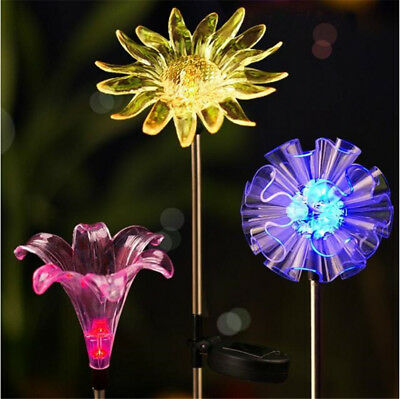 Solar Color Changing LED Flower Stake Lawn Light for Outdoor Garden Patio Yard
