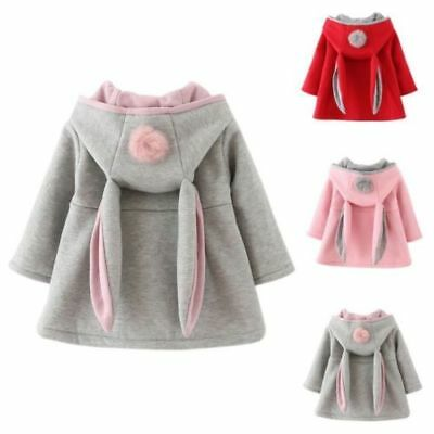 Infant Baby Girls Winter Rabbit Ears Hooded Coat Outerwear Warm Jacket Clothes