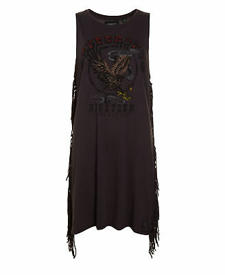 New Womens Superdry Factory Second Side Fringe Nineteen Dress Washed Charcoal