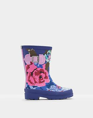 Joules 124526 Girls Printed Tall Height Welly in Rubber in Navy Floral