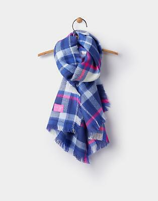 Joules 124499 Girls Heyford Woven Check Scarf in French Navy Check in One Size