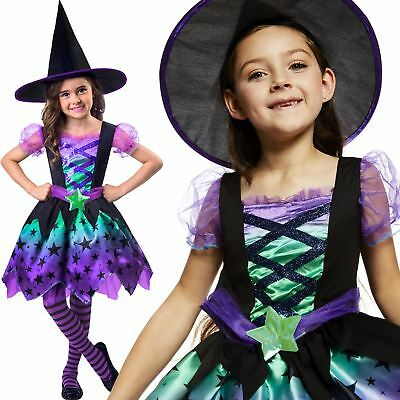 Kids Spell Casting Cutie Witch Girls Halloween Fancy Dress Costume