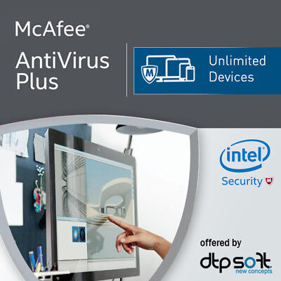 McAfee Antivirus Plus 2019 Unlimited Devices 12 Months License Antivirus 2018 UK