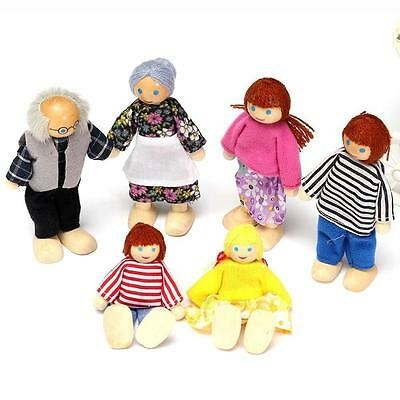 Wooden Furniture Dolls House Family Miniature 6 People Set Doll For Kid Child 00