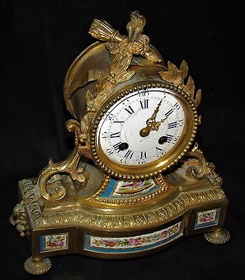 Quality French 19th Century Ormolu Clock With Enamel Panels