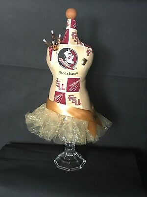 "Mannequin Tabletop Pincushion/Jewelry Holder; FSU Seminoles; 16""H; New"