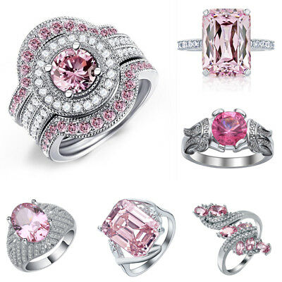Pink Sapphire 925 Silver Women Jewelry Ring Wedding Gift Engagement Size 6-10