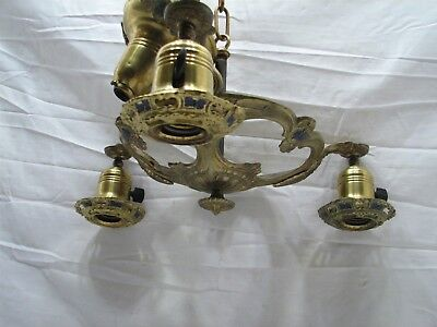 Antique Brass Victorian Ornate Painted Cast Metal Chandelier Ceiling Light Lamp