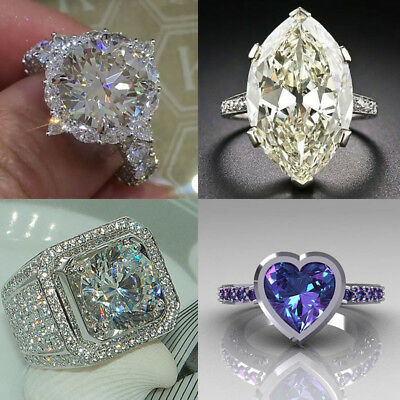 Huge 925 Silver White Topaz Alexandrite Jewelry Wedding Engagement Ring Size6-10